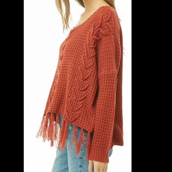 a8651a93379725 Forever 21 Sweaters | Nwt Ribbed Tassel Hem Rust Sweater M | Poshmark
